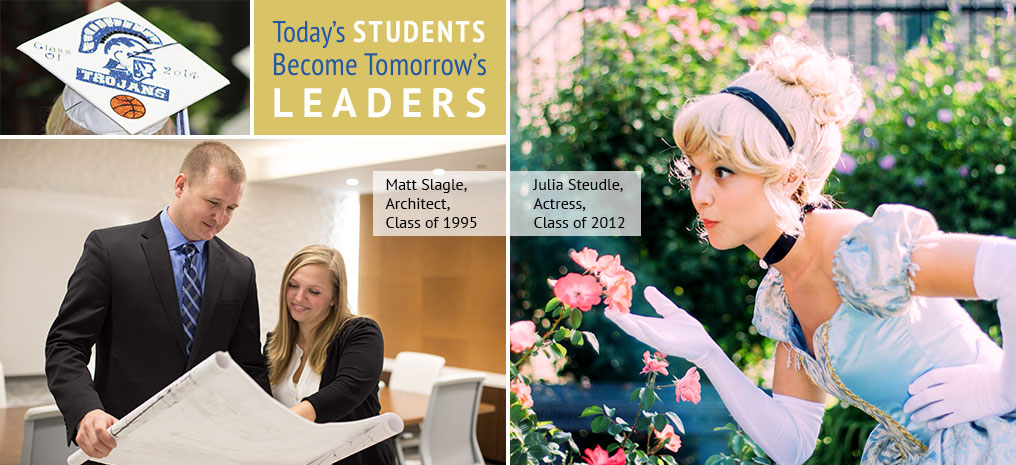 "Collage of pictures showing ""Today's Students are Tomorrow's Leaders""."
