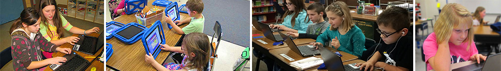 Collage of students using technology devices district wide.