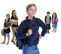Picture of students holding a backpack